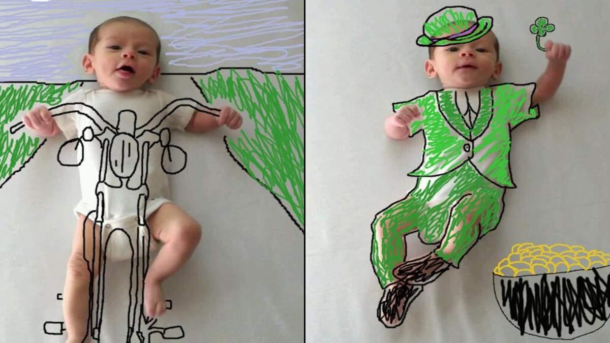 Мама перетворила фотографії сина на оригінальні малюнки з пригодами: фото