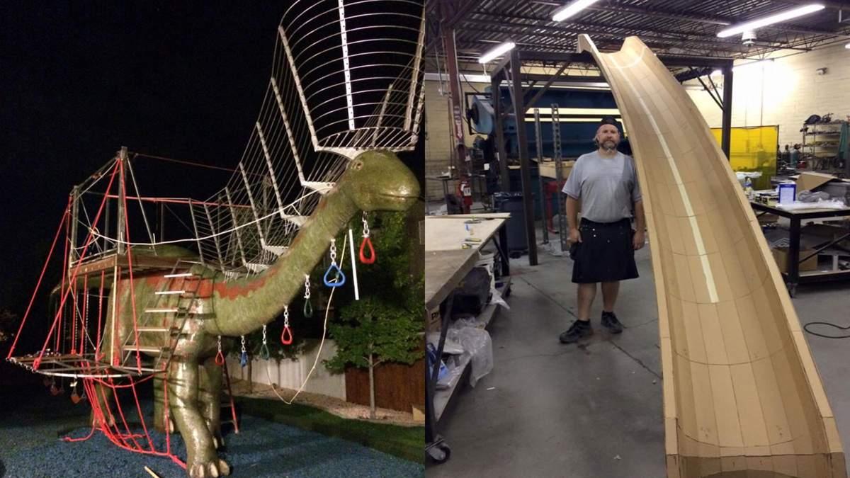 Детскую площадку на динозавре смастерил отец - фото, видео