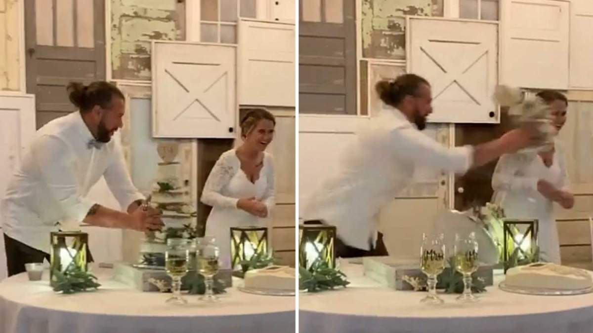 Жених бросил торт в лицо невесты: как это произошло – видео