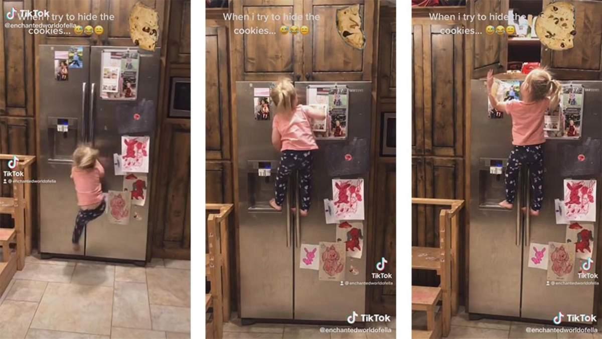 Ребенок ловко залез на холодильник за спрятанными сладостями: смешное видео
