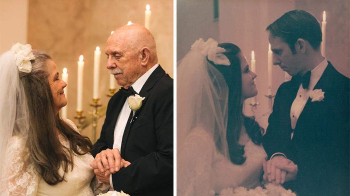 Годовщина 50 лет: влюбленные воссоздали фото со свадьбы