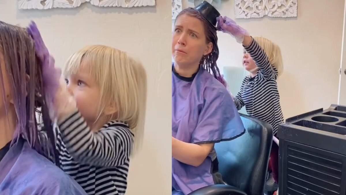 3-річна дівчинка допомогла мамі змінити колір волосся: курйозне відео