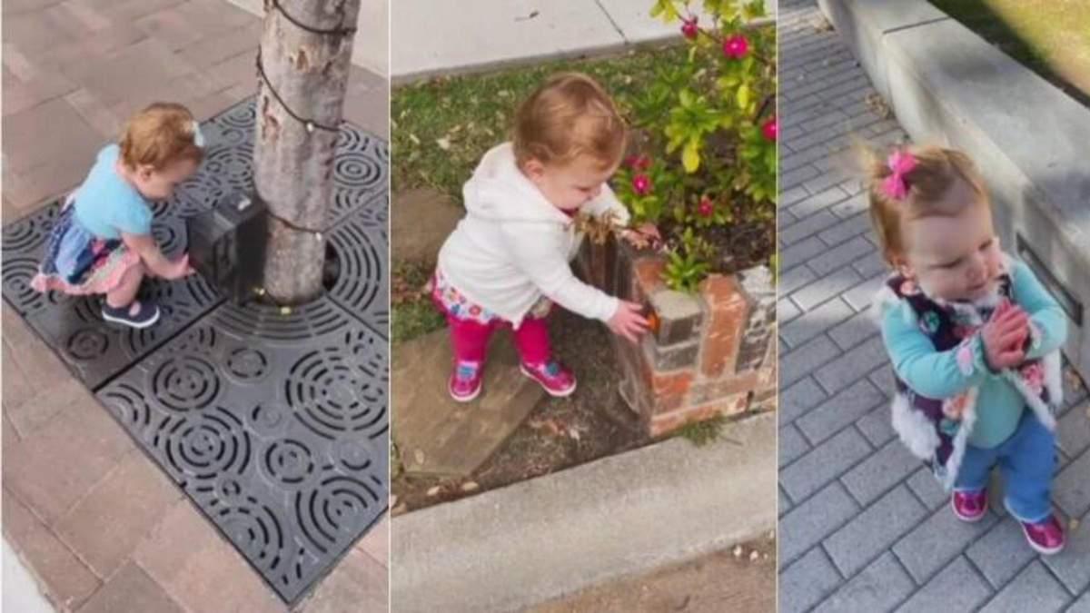 У квітковій клумбі чи ліхтарному стовпі: 1-річна дівчинка у всьому шукає антисептики – відео