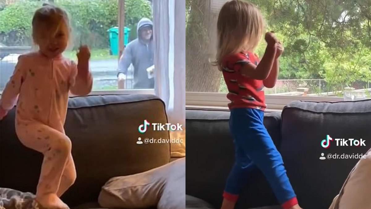 Танцевальный ритуал 3-летней девочки и почтальона: забавное видео