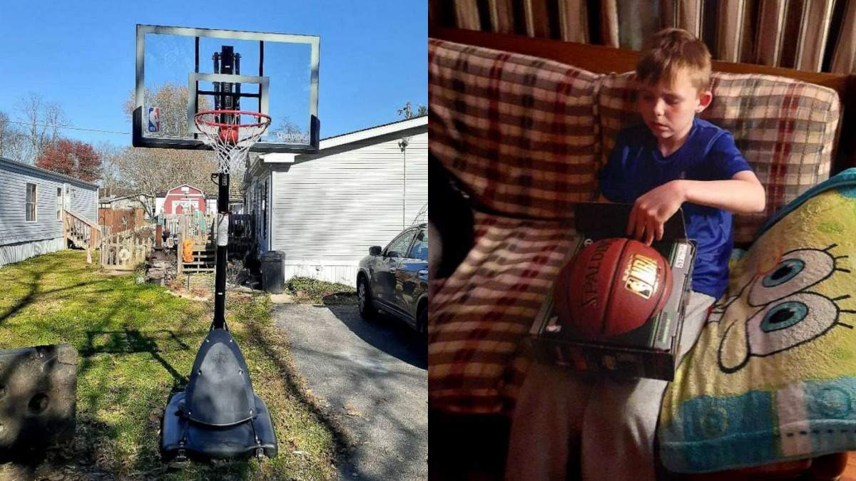 Баскетбольная стойка и мяч: подарок курьер сделал незнакомой семье