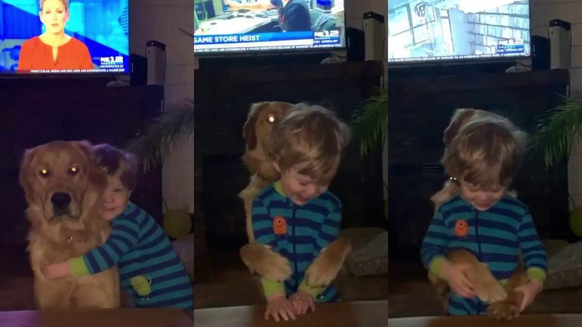 Он всегда обнимает в ответ: мама опубликовала видео сына и пса