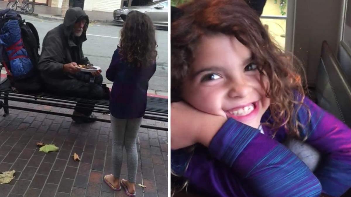 8-летняя девочка отдала свой обед бездомному: видео