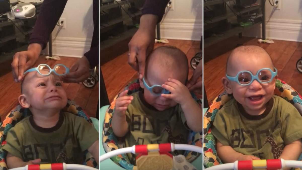Малышу одели очки и он впервые смог увидеть родителей: видео