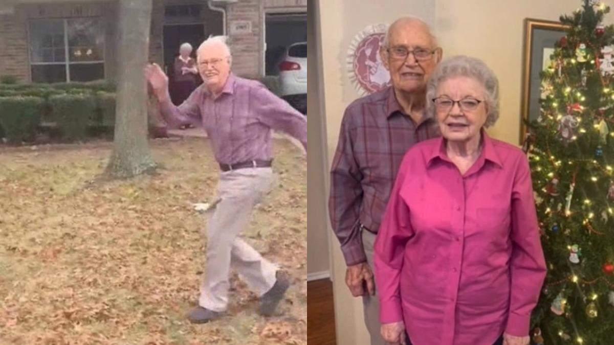 89-летний дедушка каждый раз бежит за машиной внучки: видео