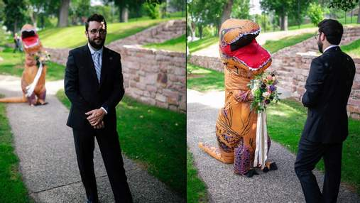 Наречена одягла на весілля костюм тиранозавра замість вишуканої сукні: кумедні фото та відео