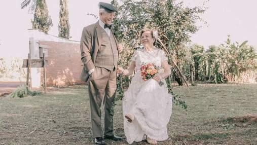 Пара вперше влаштувала весільну фотосесію після 60 років спільного життя: захоплюючі фото