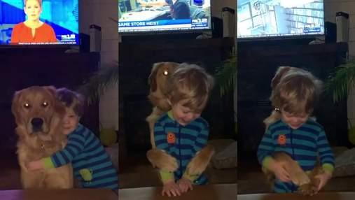 Он всегда обнимает в ответ: мама опубликовала трогательное видео сына и любимого пса