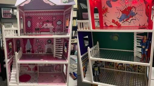 Житло для Бетмена замість Барбі: мама самостійно переробила ляльковий будиночок для сина – фото