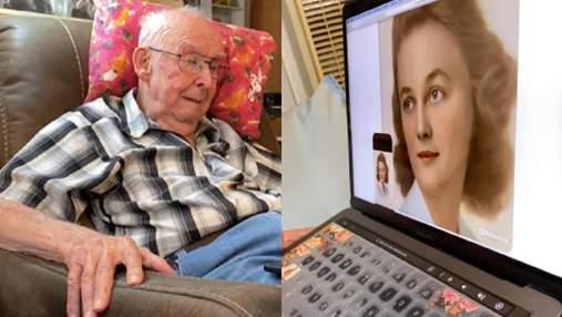 "Внучка ""оживила"" фото бабушки: видео трогательной реакции дедушки на молодую жену"