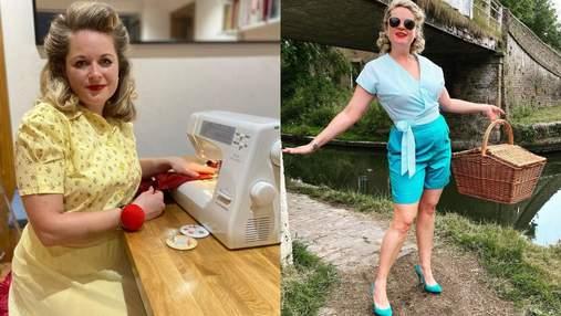 Яскраві образи з фіранок та простирадл: мама створює одяг для себе та сім'ї у стилі 50-х