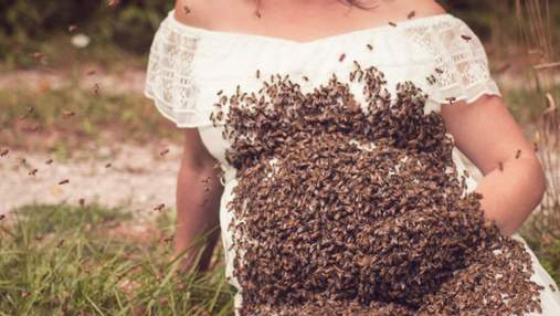 20 тисяч бджіл на животі вагітної жінки: майбутня мама здивувала незвичайною фотосесію
